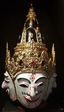 HUGE Thai Khon Mask phra phrom, brahma. Real gold leaf and crystals. art.