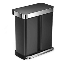 Brand New! simplehuman Dual Compartment 58L Trash Can Black Stainless Steel