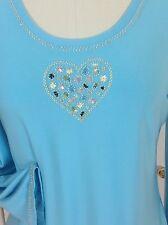 NWT VINTAGE FERAUD PARIS Beaded Stretchy Top Shirt Sky Blue Sz 6
