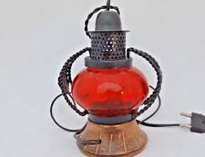 Vintage Old Antique Style Iron Glass & Wood Electric Lantern Look Night Lamp K2