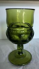 Lovely Vintage Green Indiana Glass Kings Crown Water/Wine Goblet 5 1/2""