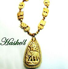 Necklace*Elephant Pendant*Cream Beads*Signed Vintage Haskell African Carved