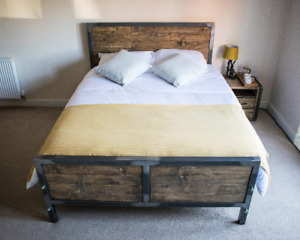 Kingsize Bed Industrial Steel Handcrafted Furniture