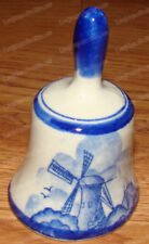 Vintage Draft Blue Windmill Pottery Bell (Korea) Delfts Holland Scene