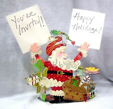 Karen Rossi Silvestri Humorous SANTA CLAUS CARD & PIC HOLDER AND BASKET Metal