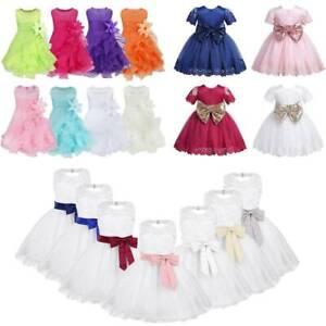 Baby Girls Ruffles Tutu Flower Dress Princess Wedding Baptism Prom Long Gowns