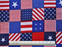 1/2 yard 100% cotton quilt fabric Patriotic squares stars stripes red white blue