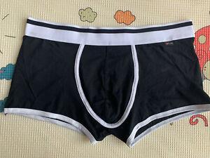 XUBA Men's Fashion Luxurious Underwear Low Waist Sexy Cozy Boxer Brief Black L