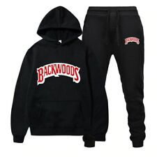 BACKWOODS Print Two-piece Men Hoodie Hooded Sweatshirt Coat Pants Sweatpants Set