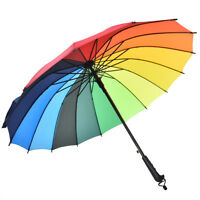 16 Rib Rainbow Golf Umbrella Ultra Deluxe Strong Windproof Large Canopy Eo