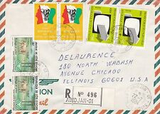 BD805) Ivory Coast 1984 nice registered airmail cover to USA