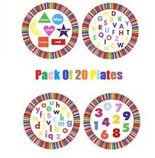 Kids Party Educational Paper Plates Colors Shapes Numbers Fun Learning Plates