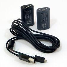 2X batteria 1400mAh+cavo caricabatterie 270cm controller Microsoft Xbox One e S