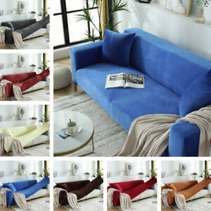 Thick Plush Sofa Cover Stretch Velvet Couch Slipcovers Fit 1-5 Seater