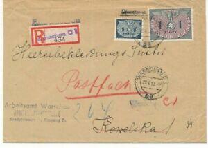D2+13 / 8 Gr. + 1 Zl auf Reco-Dienstbrief vom 29.4.1943 nach Warschau  - mit AKS