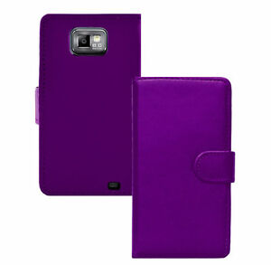 Purple WALLET Plain Leather phone case for Samsung Galaxy S2 II GT-I9100 UK POST