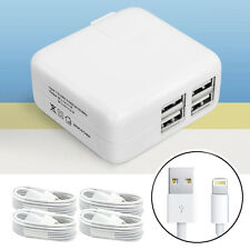 4 Port Wall Charger Adapter + 4x 8Pin USB Cable Cord for iPhone7 plus 6 6s 5 5s