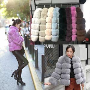Women Faux Fox Fur Coats Parka Outwear Overcoat Thick Warm Winter Trench Jackets