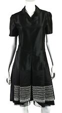 JIL SANDER NWT Black Silk Satin & Beaded Organza Short-Sleeve Dress 42