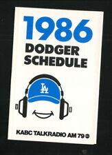 Los Angeles Dodgers--1986 Pocket Schedule--KABC/Tinder Box