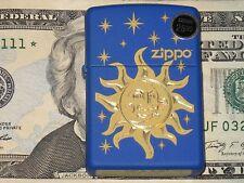 New Genuine ZIPPO Windproof Flame Lighter Sun & the Moon Stars Blue Matte Click