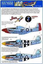 Kits World Decals 1/32 P-51 MUSTANG Fighter Jan & Impatient Virgin (2 Versions)