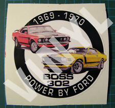 """1969-70 MUSTANG BOSS 302 VINYL STICKER-DECAL 4"""" - POWER BY FORD-MUSCLE CAR"""