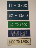 5 Casino Table Games Table Limit Placard Signs
