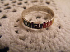 VINTAGE STERLING SILVER 925 GREEK KEY ENAMEL BAND RING~SIZE 8.5~COLORFUL~EUC!
