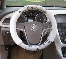 "Soft Plush Footprint Auto Car Steering Wheels Cover Anti-slip 38CM 15"" Grey new"