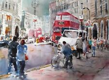 "BEAUTIFUL SERA KNIGHT  ORIGINAL WATERCOLOUR ""Regents Street"" London PAINTING"
