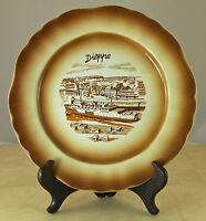 Vintage Dieppe France Souvenir Plate Brown Tones Ship Theme 9.25 inches