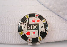 $100 Poker Chip Golf Ball Marker - W/Bonus Magnetic Hat Clip