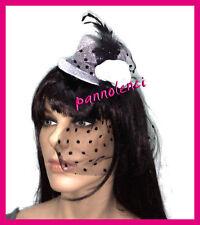 Cappello cappellino Burlesque ARGENTO velo piume BH-01