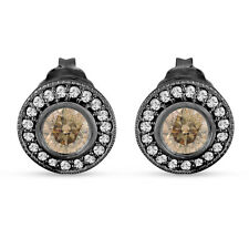 Champagne Diamond Stud Earrings Halo 14K Black Gold Vintage Style 0.86 Carat