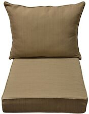Allen Roth Natural Wheat Texture Cushion Deep Seat Chair Outdoor Patio Yard New