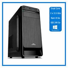 PC de Bureau Dual Core - 2 x 3.50 Ghz  - Ram 8 Go - SSD 240 Go - Windows 10 Pro