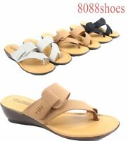 Women's Causal Comfy Padded Wedge Thong Flip Flops Sandal Shoes Size 6 - 11 NEW