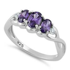 Melchior Jewellery Sterling Silver Triple Oval AMETHYST CZ Ring Gift Boxed