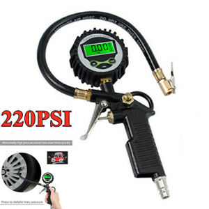 Digital Car 220psi Air Tire Inflator Gauge Pneumatic Dial Meter Tester