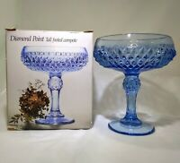 Indiana Glass Regal Blue Diamond Point Tall Footed Compote   Made In The USA