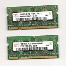Lot de 2 Barrettes mémoire HYNIX 1GB  2Rx16 PC2-6400s-666-12 soit 2Go