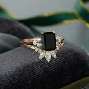 Black Emerald 3 Ct Wedding Ring Set Rose Gold Plated Over 925 Sterling Silver