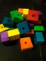 24 Large 1-1/2'' x 1-1/2'' x 3/4'' Thick Wood Blocks- 3/8'' Hole Bird Toy Parts