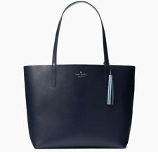 NWT Kate Spade Lakeland Marina Reversible Navy / Blue Leather Tote WKRU5342 $299