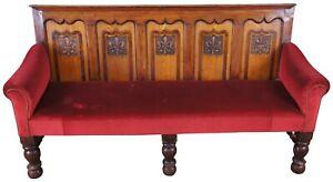 Antique 18th Century English Paneled Oak Pub Bench Settle Pew Gothic Revival