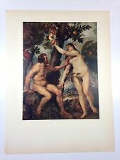 "1954 Vintage Full Color Art Plate ""ADAM AND EVE"" by Rubens Lithograph"