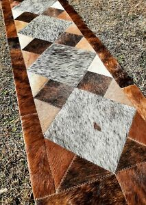 NEW COWHIDE TABLE RUNNER PATCHWORK CARPET AREA RUG LEATHER cow hide Perfert