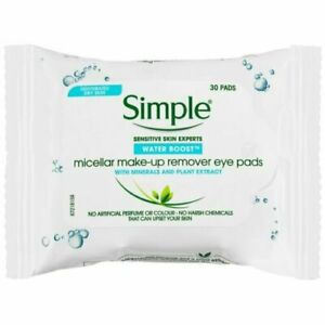 2 X Simple Micellar Make-Up Remove Eye Pads Contains 30 Pads each pack Free Post