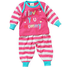 Lullaby Baby Girls I Love My Mummy or Daddy Long Sleeve Cotton Pyjamas 0-9mths